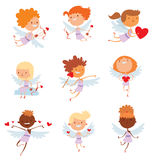 Valentine Day cupid angels cartoon style vector. Valentine Day cupid angel cartoon style vector illustration. Amur cupid kid playing. Cupid cartoon kids vector Royalty Free Stock Images