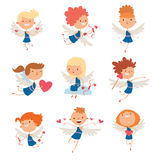 Valentine Day cupid angels cartoon style vector illustration. Amur cupid kids playing. Cupid cartoon kids vector illustration, Cute playfull Valentine  cupid Stock Photo