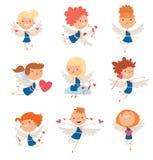 Valentine Day cupid angels cartoon style vector illustration Stock Photo