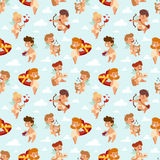 Valentine Day cupid angels cartoon style vector illustration semless pattern. Valentine Day cupid angels cartoon style vector illustration. Amur kids playing Royalty Free Stock Image