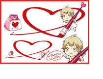 Valentine Day and cupid draw big heart with red ink . Vector illustration Royalty Free Stock Image