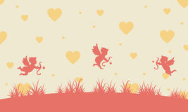 Valentine day with cupid landscape. Vector illustration Royalty Free Stock Images