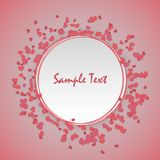 Valentine Day cute background. Vintage romantic origami paper heart shape long shadow frame. Retro border Valentine`s love design. Mock up material soft template Stock Photography