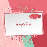 Valentine Day cute background. Vintage romantic origami paper heart shape long shadow frame. Retro border Valentine`s love design. Mock up material soft mint Royalty Free Stock Photo