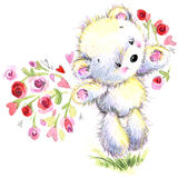 Valentine day. Cute White bear and red heart. Toy background for congratulation festive. watercolor illustration Stock Photo
