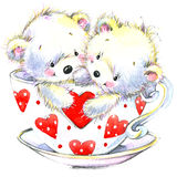 Valentine day. Cute White bear and red heart. Royalty Free Stock Photos