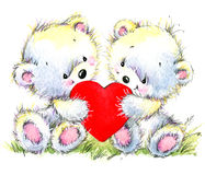 Valentine day. Cute White bear and red heart. Toy background for congratulation festive. watercolor illustration Stock Images