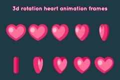 Valentine Day 3d Heart Rotation Animation Frames Set Flat Design Vector Illustration. Valentine Day 3d Heart Rotation Animation Frames Flat Set Design Vector Royalty Free Stock Photo