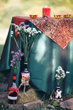 Valentine day decor.love story. bottles with flowers. romantic d. Inner outdoors Royalty Free Stock Photography