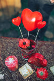 Valentine day decor.love story. decorated table ,hearts , romant. Ic dinner outdoors Stock Image