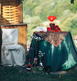 Valentine day decor.love story. decorated table ,hearts , romant. Ic dinner outdoors Stock Photography