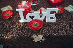 Valentine day decor.love story. decorated table ,hearts , romant. Ic dinner outdoors Stock Photo