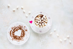 Valentine Day Decoration, Breakfast, White Vintage Cup And Plate, Coffee With Small Marshmallows And Hearts Made From Red Paper Royalty Free Stock Photo
