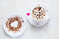 Valentine day decoration, breakfast, white vintage cup and plate, coffee with small marshmallows Stock Images