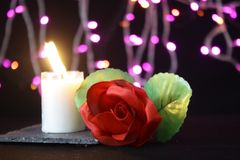 Valentine day decoration with lamp, flower and candle burning photoshoot. Collection royalty free stock photography