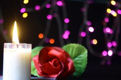 Valentine day decoration with lamp, flower and candle burning photoshoot. Collection stock images