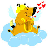 Valentine Day dog character. Dog in cupid or angel fancy costu. Me with harp in the heaven. Vector illustratuon with cute holiday pet Royalty Free Stock Photography