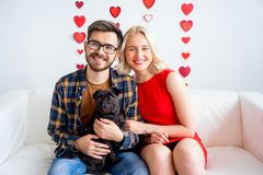Valentine day with a dog Royalty Free Stock Photos