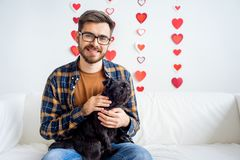 Valentine day with a dog Royalty Free Stock Photo