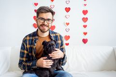 Valentine day with a dog Royalty Free Stock Images