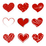 Valentine day doodle hearts. Collection of different style hearts separated on white background Royalty Free Stock Image