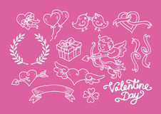 Valentine Day Doodle Set. H and drawn outline doodle set for valentine day Stock Photo