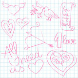 Valentine day doodles Stock Images