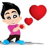 Valentine Day ed il ragazzo amano Confess isolata su fondo bianco Fondo di Valentine Day di vettore Fotografia Stock