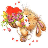 Valentine Day et animal mignon Photos stock
