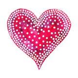Valentine Day feliz! A aquarela pintou o coração, elemento para seu projeto bonito Ilustração da aquarela para seu cartão ou cart Fotos de Stock