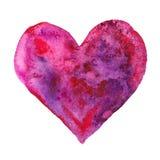 ¡Valentine Day feliz! La acuarela pintó el corazón púrpura, elemento para su diseño precioso Ejemplo de la acuarela para su tarje Imagen de archivo libre de regalías
