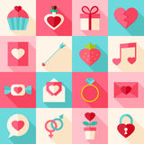 Valentine day flat icon set with long shadow Royalty Free Stock Photo