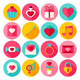 Valentine Day Flat Icons Image stock