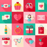 Valentine day flat style icon set with long shadow Stock Photos