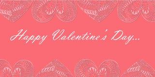 Valentine Day Flyer mit Herzen Ornated Zentangle lizenzfreie stockbilder