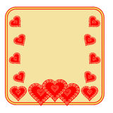 Valentine day frame of heart gold background vector Stock Photo