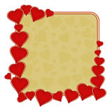 Valentine day frame of hearts gold background vector Royalty Free Stock Image