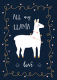 Valentine Day or Friends Day Card with llama and Festive Lights Hearts Garland.  Royalty Free Stock Photos