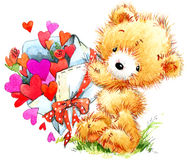 Valentine day. Funny teddy bear and red heart. Royalty Free Stock Images