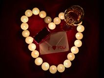 Valentine Day Gift. With Candles & Wine Stock Photography