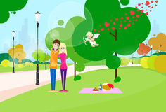 Valentine Day Gift Card Couple In Heart Shape Park Stock Image