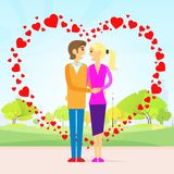 Valentine day gift card couple in heart shape Royalty Free Stock Image