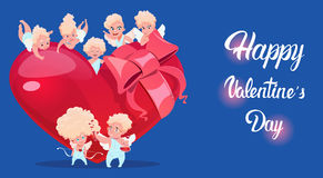Valentine Day Gift Card Holiday Amour Love Cupid Heart Shape Stock Images