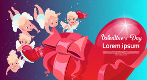 Valentine Day Gift Card Holiday Amour Love Cupid Heart Shape. Flat Vector Illustration royalty free illustration