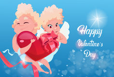 Valentine Day Gift Card Holiday Amour Love Cupid Heart Shape Stock Photos