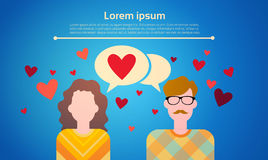 Valentine Day Gift Card Holiday Couple Love Chat Bubble Social Network Communication Stock Photography