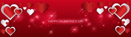 Valentine Day Gift Card Holiday-de Vormbanner van het Liefdehart met Exemplaarruimte stock illustratie