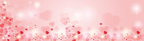 Valentine Day Gift Card Holiday-de Vormbanner van het Liefdehart met Exemplaarruimte Stock Fotografie