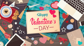 Valentine Day Gift Card Holiday Love Heart Shape Decorated Workspace Desk Copy Space Top Angle View Royalty Free Stock Photo