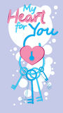 Valentine Day Gift Card Holiday Love Heart Shape Lock With Keys Stock Photography
